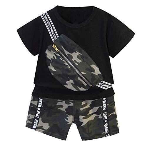 YUUMIN Kinder Baby Junge Sport Set Fitness Kurzarm Crop Top Mit Camouflage Taschen Elastisch Army Kurze Hose Leggings Mit Buchstaben Print Sommer Outfits Schwarz 80-86