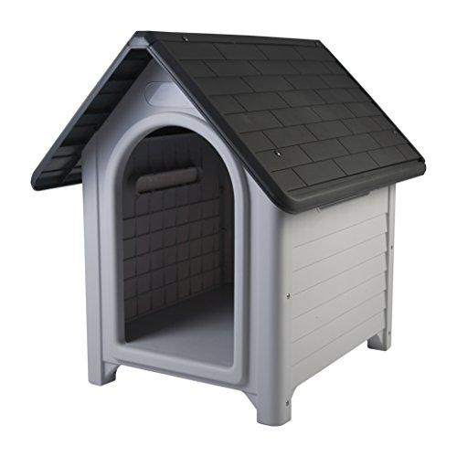 IRIS, Hundehütte / Hundehaus 'Dog House', DH-101, Kunststoff, grau / schwartz, 80 x 66 x 80 cm