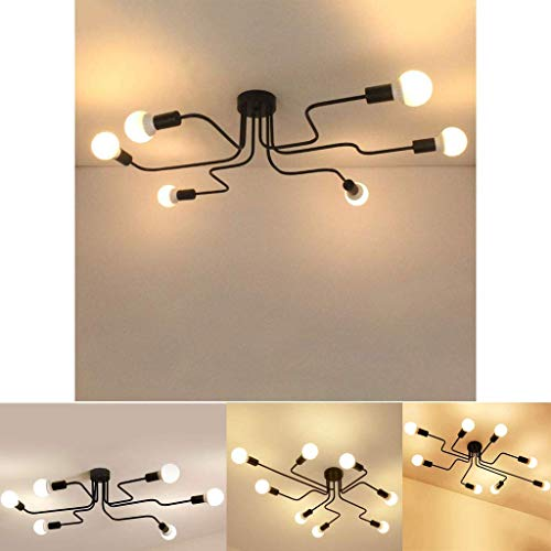 Lámpara de techo vintage, lámpara colgante industrial E27, lámpara de araña con soporte de lámpara, múltiples lámparas, sala de estar, dormitorio, comedor, pasillo, bar, cafetería, etc.