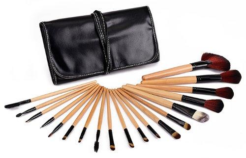 Glow 19 pc en bois de qualité professionnelle poignée maquillage pinceau set en étui en cuir