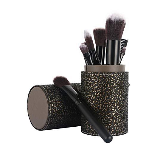 Llxxx Pinceau de Maquillage-Pinceaux cosmétiques Portables pour Poudre Libre, Contour, Teinte, surligneur, Fard à paupières et Fond de Teint, 12 pièces, F