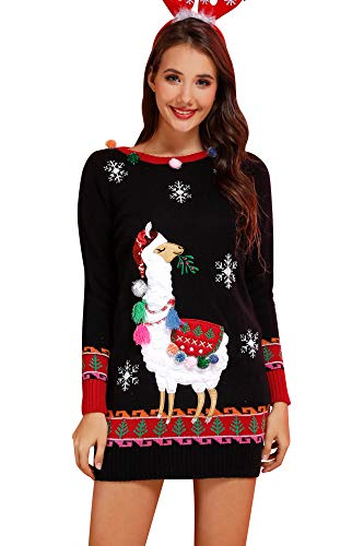 For G and PL Women's Christmas Ugly Sweater Dress Santa Alpaca L