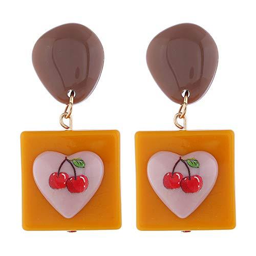 Idin Jewellery Pendientes cuadrados mostaza con cerezas en forma de corazón
