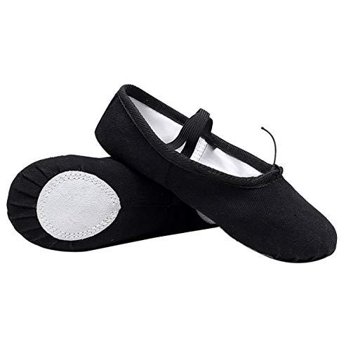 EXCEART 1 par de Zapatos de Ballet Zapatos de Baile Antideslizantes Zapatos de Yoga con Cordón Elástico para Niña Pequeña - Talla 28 (Negro) Nombre Del Producto: