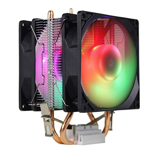 9 cm 2 dubbele koelventilator, CPU-koeler, 3-pins ventilatorinterface, hydraulisch lager, kleurrijke ademhalingslampen, U-warmtebuis, universele warmteafleider met laag CPU-verbruik