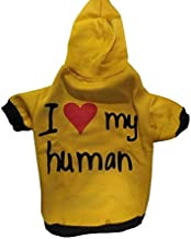 Pets Empire I Love My Human Dog Coats Chihuahua Clothes Sweatshirt Pet Puppy Cat Jacket (14 Inch, Mustard)