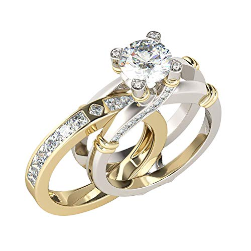 Tuuu 2 In 1 CZ Wedding Engagement Bridal Ring Set with Round Cubic Zirconia Eternity Featured Rings