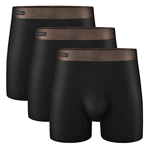 David Archy Men's 3 Pack Underwear Ultra Soft Comfy Breathable Bamboo Rayon Basic Boxer Briefs (Black-no Fly,M)