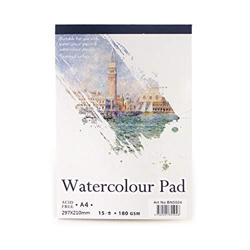 15 Hojas A3 / A4 / A5 Cuaderno de bocetos de Papel de Acuarela Bloc de Notas para Pintar Dibujo Arte