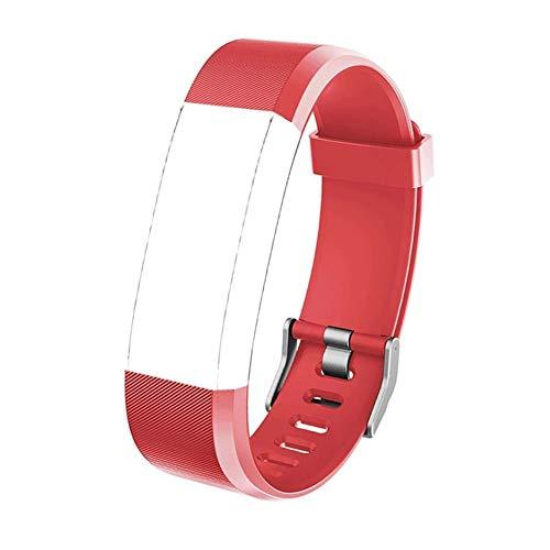 Eve L ID115plus Ersatzarmband Wasserdicht aus hautfreundlichem TPU und Nickelfreiem Verschluss Verstellbares Uhrenarmband für Fitness Tracker ID115 Plus/ ID115HR Plus Aktivitätsverfolgung, Rot