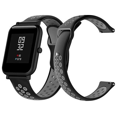 SenMore 20mm Cinturino per Xiaomi Amazfit Bip Lightweight Bracciale Universale in Sport Cinturino Sportivo per Samsung Gear S2 Frontier/Classic, Huawei Watch 2, Amazfit Bip Younth (20mm, Grigio)