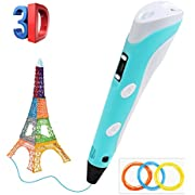 Plumas para impresión 3D, BelleStyle 3D Pluma Inteligente Pen Bolígrafo de Impresión Estereoscópica con Soporte de Seguridad para Crear y Modelar Figuras 3D