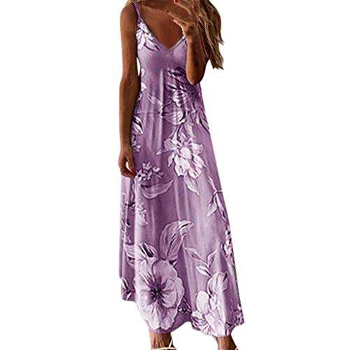 Women's Spaghetti Strap Floral Dress Casual Summer Backless V Neck A Line Midi Sundresses Gowns Purple