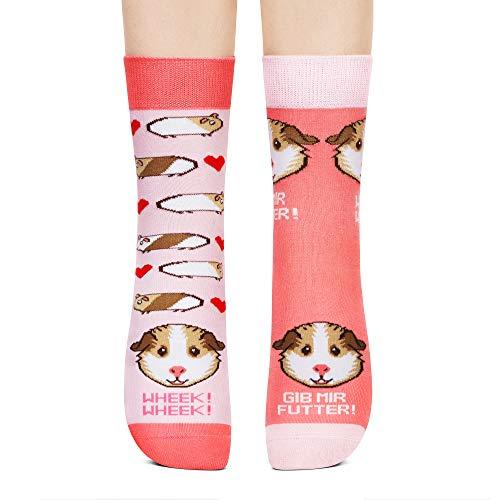 Petsy Lustige Socken für Damen und Herren 35-38 - Baumwolle Bunt Motivsocken mit Spruch - Perfekt Verrückte Geschenke - Gib Mir Futter