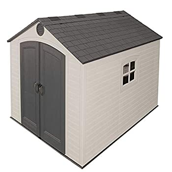 Lifetime 6405 Outdoor Storage Shed with Window Skylights and Shelving 8 by 10 Feet