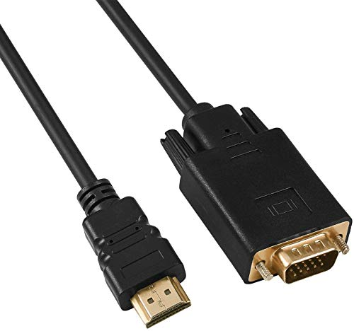 Convertidor de cable HDMI a VGA, chapado en oro HDMI a VGA adaptador (macho a macho) para ordenador, escritorio, portátil, monitor, proyector, PC, HDTV, Chromebook y más, 1,8 m