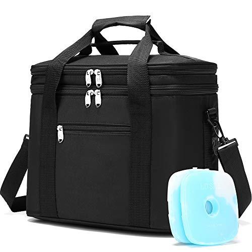 JANSBEN 18L Kühltasche mit 2 Kühlakku Thermotasch Picknicktasche Isoliertasche Lunchtasche Kühlbox Mittagessen für Lebensmitteltransport Outdoor Reisen Camping (Schwarz)