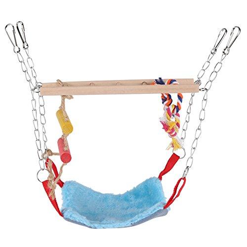 Fdit Haustiere Vögel Papagei Klettern Papagei Sittich Wellensittich Spielzeug Bunte Schaukel Leiter mit Bett Zubehör Hängende Pet Toys(Blau)