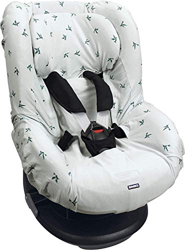 Dooky Origami Swallow Grey Funda de asiento infantil (ajuste universal para muchos modelos populares, grupo de edad 1+ 9-18 kg, sistema de cinturón de 3 y 5 puntos), Gris
