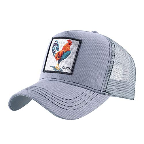 Gorra de béisbol de algodón Bordado Animales Gorra de béisbol Ajustable (Color : Gray-a, Size : 56-60cm)