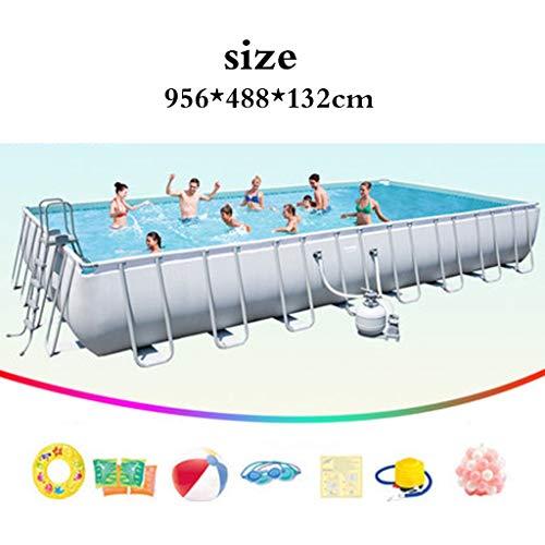 Stand Schwimmbad Home for Erwachsene und Kinder Swimmingpool im Freien Fischteich große Planschbecken großen Pools (Color : Weiß, Size : 956 * 488 * 132cm)