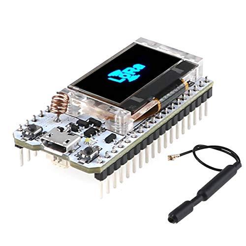 MakerHawk Modulo ESP32 LoRa SX1276 868 915MHZ Modulo Wifi Scheda IoT Dual Core 240MHz CP2102 a basso consumo energetico con display OLED da 0,96 pollici e antenna per Arduino