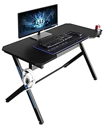 """JJS 48"""" Home Office Gaming Computer Desk with Cable Management, R Shaped Large Gamer Workstation PC Table with Cup Holder Headphone Hook Mouse Pad"""