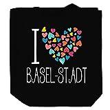 Teeburon I Love Basel-Stadt Colorful Hearts Bolsa de Lona 10.5' x 16' x 4'