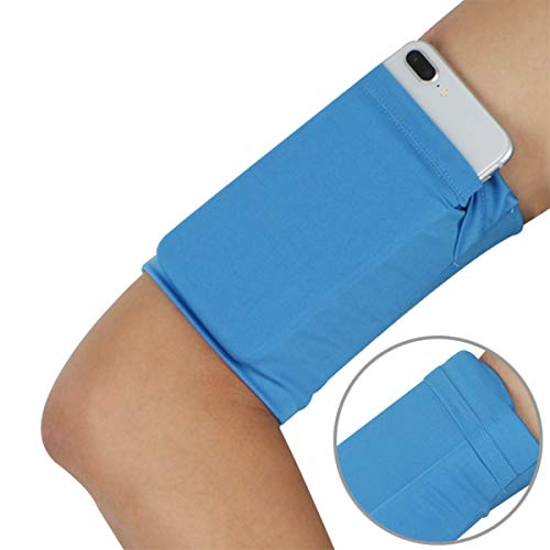 Armband Wristband for Keys Cellphone - Phone Wrist Band Sleeve Arm Bag - Running Sports Arm Strap Wristband Holder Pouch Case for Exercise Workout Fits up to 6 inch Phone - 1PC Pure Blue