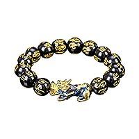 JTLB Natürliche Stein Schwarz Obsidian Pixiu Armband Unisex Dzi Armband Dzi tibetischen Perlen Armreif zieht Positive Energie und Glück