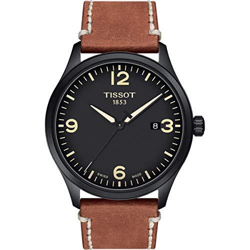 TISSOT Herren Analog Quarz Uhr mit Leder Armband T1164103605700