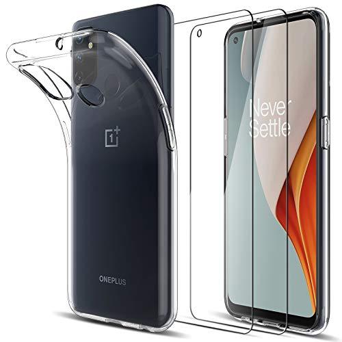 LK Kompatibel mit Oneplus Nord N100 Hülle mit 2 Stück Bildschirmschutz Schutzfolie, Klar Schutzhülle Transparent TPU Silikon Handyhülle Durchsichtige Hülle Cover, Crystal Clear