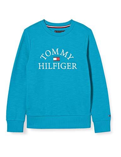 Tommy Hilfiger Essential Logo Sweatshirt Felpa, Blu (Exotic Teal 326/650 Ctx), 74 Bimbo