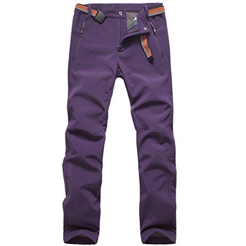 emansmoer Femme Élastique Doublé Polaire Pantalon Softshell Imperméable Outdoor Sport Pantalons de randonnée Escalade (Small, Violet)