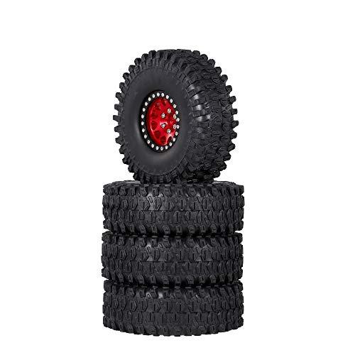 GoolRC 4PCS 1.9 Inch RC Crawler Rubber Tires with Metal Rim for 1/10 RC Rock Crawler Traxxas TRX-4...