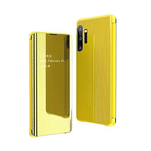 CrazyLemon Hülle für Samsung Galaxy Note 10 Plus, Dünn Leicht Flip Spiegel Schutzhülle PU Leder + Mikrofaser PC Hybrid Stoßfest Handyhülle - Gelb