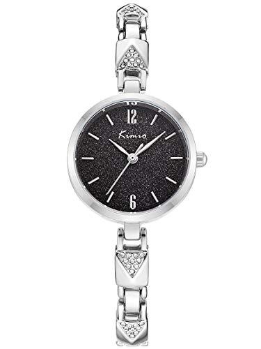 Alienwork Reloj Mujer Relojes Acero Inoxidable Plata Analógicos Cuarzo Negro Impermeable Strass Ultra-Delgada Slim Elegante