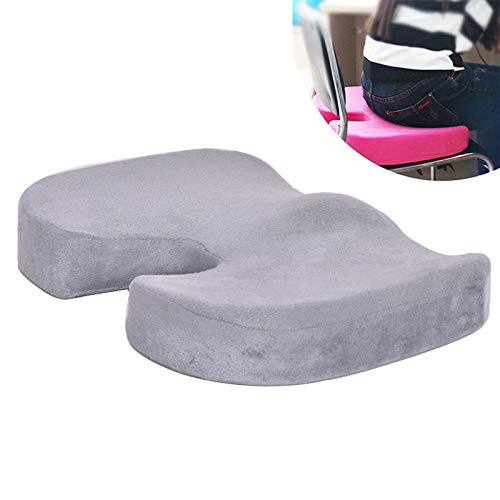 HUANGMENG Cushion W-shaped Rebound Memory Foam Anti-Hemorrhoids Car Health Buttock Cushion, Size: 45x35x7cm(Black) (Color : Grey)