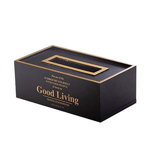 NYKK Caja Pañuelos Caja de pañuelos nórdica Hogar Creativo Bandeja casera de la Sala de Estar Bandeja de servilletas Mesa de Centro Simple Dispensador Pañuelos (Color : Black)