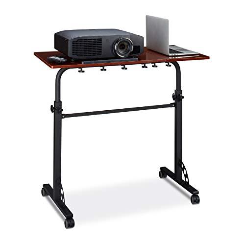 Relaxdays Laptoptisch groß XXL höhenverstellbar, HxBxT: 110 x 100 x 50 cm, Holz, Mobiles Rednerpult, Bremsbare Rollen, Notebook, Beamer, Laptops, 2 Ablagen, Mahagoni braun