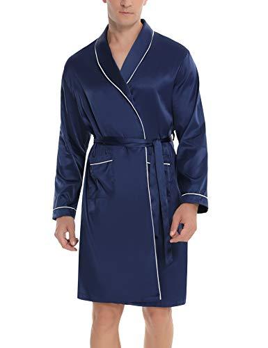 Hawiton Albornoz de Hombre Albornoz de Invierno para Hombre Kimono Hombre Satén Albornoz Largo de Hombre con Cinturon y 2 Bolsilla Negro Azul Gris S-XXL