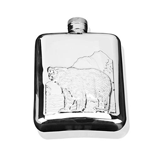Polar Bear Manly Hip Flask 6oz, 18/8 Outdoor Fishing Pastime Pocket Fles, Field Adventure Port Drinkfles,