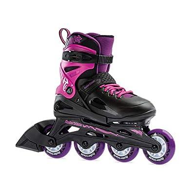 Rollerblade Fury Girl's Adjustable Fitness Inline Skate,Black and Pink, Junior, Youth Performance Inline Skates