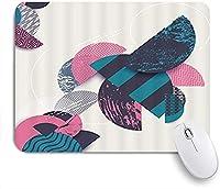 KAPANOU マウスパッド、クールな色のジグザグシェブロンウェーブストライプ半円モダンジオメトリコンボパターン おしゃれ 耐久性が良い 滑り止めゴム底 ゲーミングなど適用 マウス 用ノートブックコンピュータマウスマット