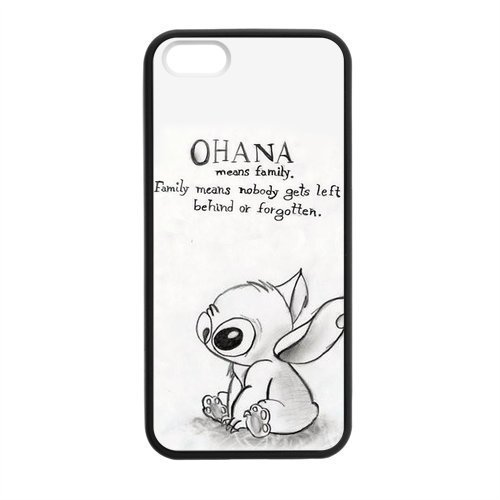 HOT Selling Funny Cute OHANA & Classic Family Quote Phone Case for APPLE iPhone 5 5s Best Durable Hard Plastic Case - White
