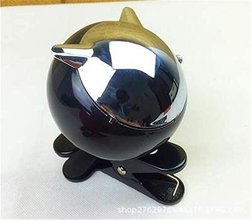OH Moda Metal Mini Cenicero, Bandejas de Cenizas de Mesa Creativa con Tapa con Clip, para Oficina Junto a la Mesita de Noche, Etc.2 Piezas, Blanco Adornos de escritorio/Negro