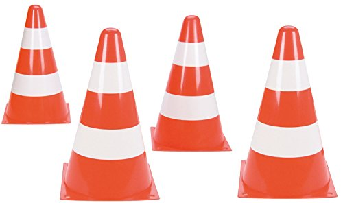 Lena 61247 Pylonen 4 stuks, ca. 22 cm hoog, oranje/wit, verkeerskegels voor het verkeer, verkeersbeschermers voor afsluiting, speelgoed pylonen voor het opbouwen van een paours.