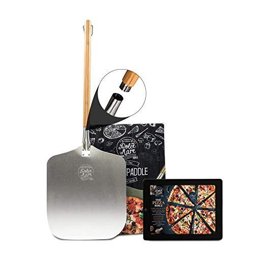 Dolce Mare® Deslizador de Pizza - Pala de Aluminio para Pizza con Mango de bambú Robusto para un manejo cómodo - Paleta para Pizza