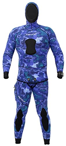 MAKO Spearguns Spearfishing Wetsuit 3mm 2 Piece Yamamoto Camo Blue Water (Large)
