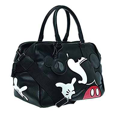 A39.Disney Mickey Mouse Men Women Travel Weekend Duffel Luggage Overnight Bag (02.Black)